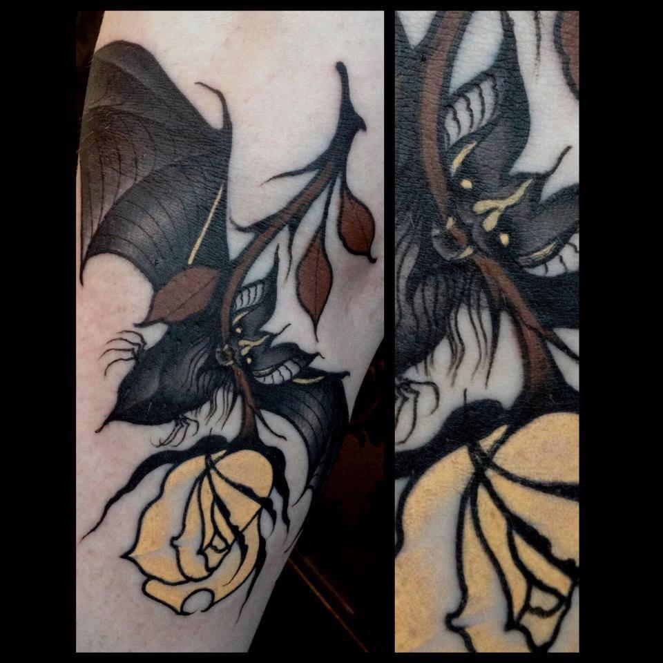 Rose tattoos for Bat sleeve tattoo