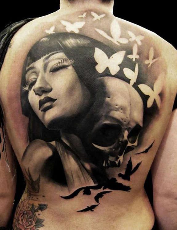 Flying Butterflies And 3D Skull Tattoo On Full Back