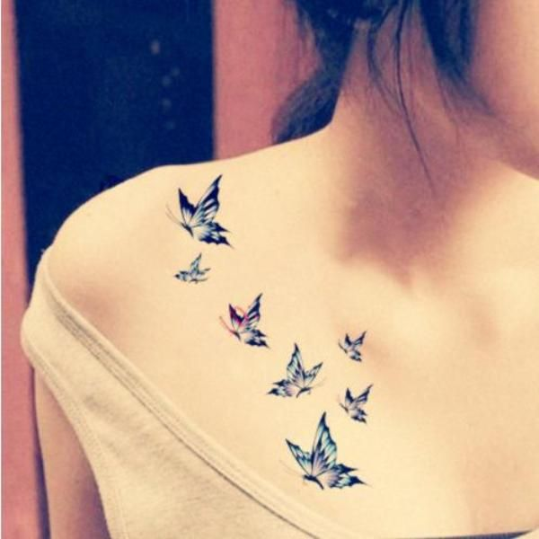 Flying Butterflies Tattoos On Front Shoulder