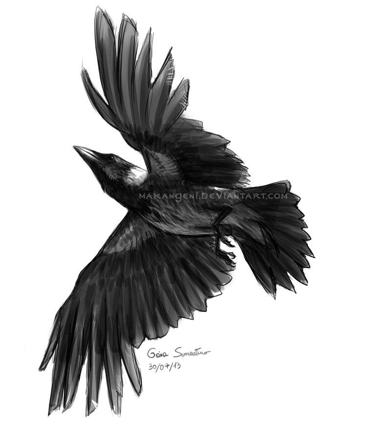 640878a4a0dd2 Flying Crow Tattoo Design Idea