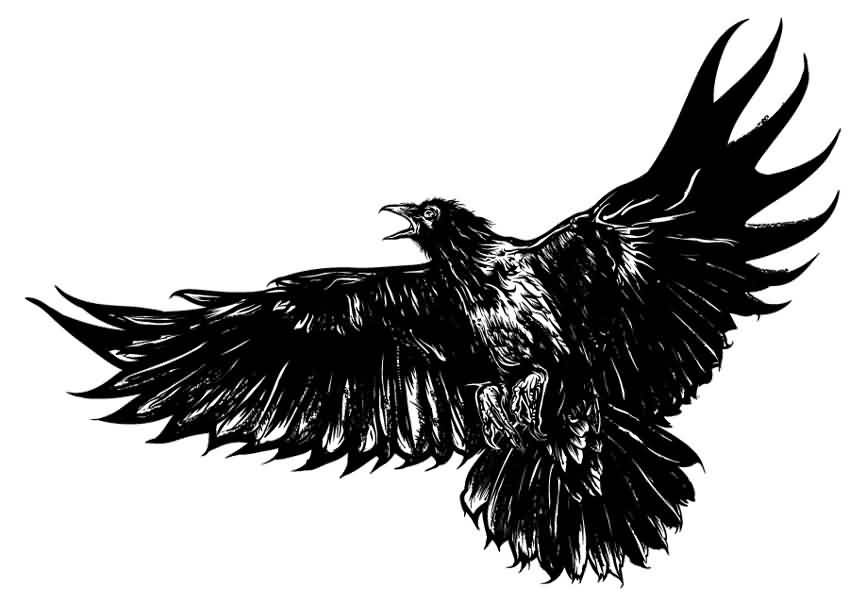 flying crow tattoo design ideas. Black Bedroom Furniture Sets. Home Design Ideas