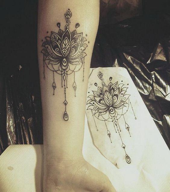 Forearm Mandala Flower Tattoo
