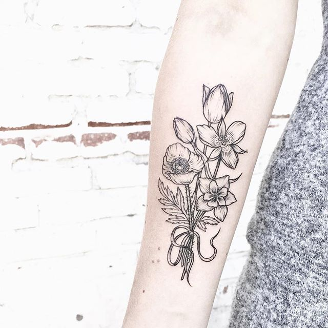 Forearm Tulip Flowers Tattoos