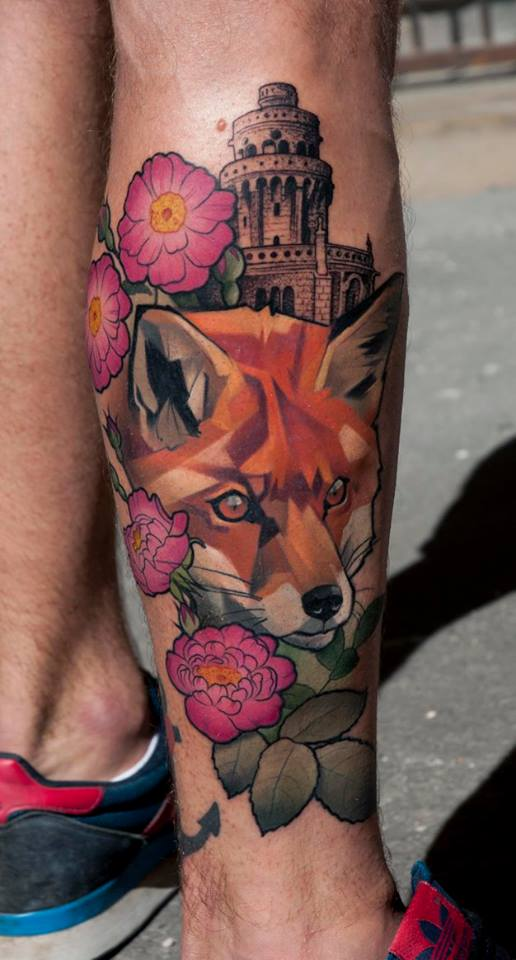 Fox With Flowers Tattoo On Right Leg
