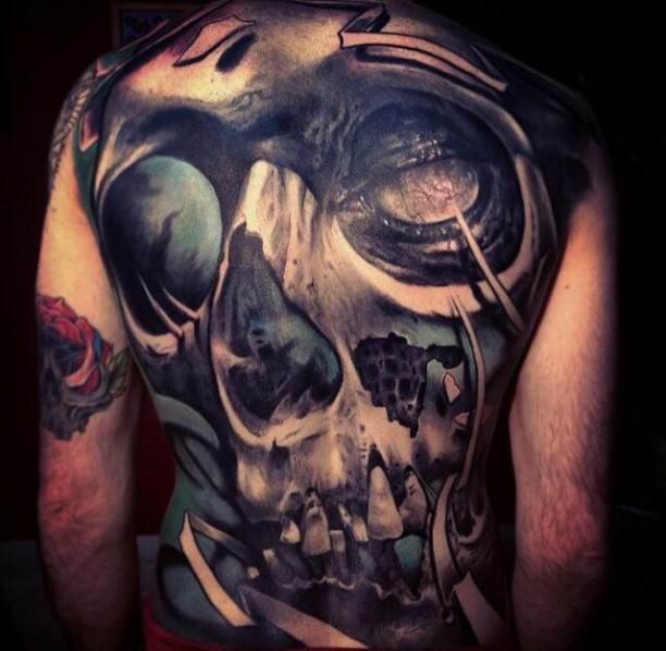 Full Back 3D Skull Tattoo Image
