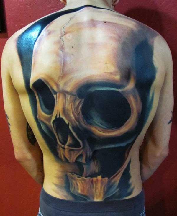 Grey And Black 3D Skull Tattoo On Full Back