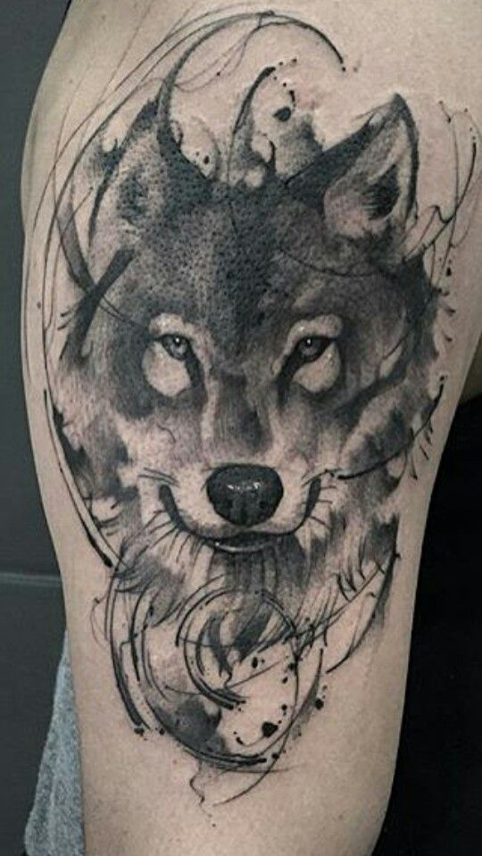 72e53f1eb8f51 Grey And Black Wolf Tattoo Idea
