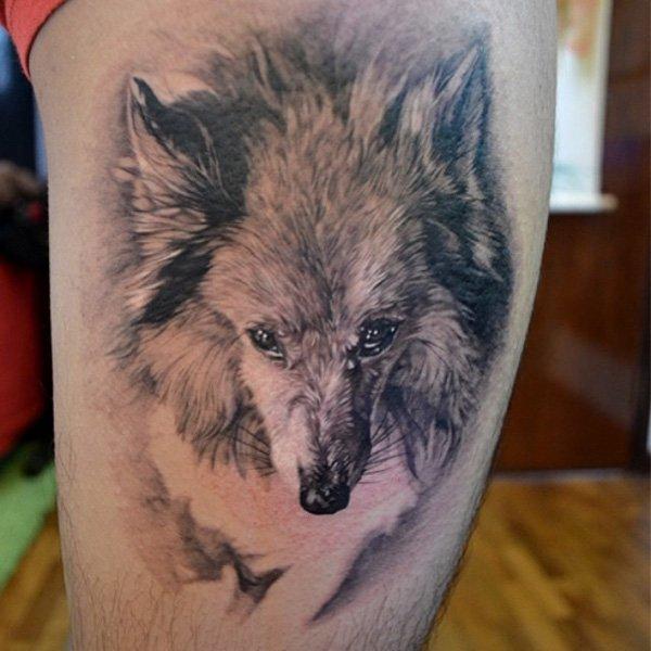 aeb9eb0391e18 Grey And White Ink Wolf Tattoo