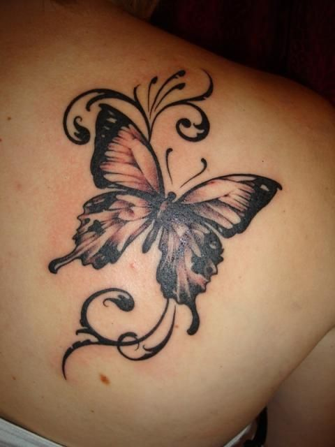 498304e817506 Grey Butterfly Tattoo On Right Back Shoulder