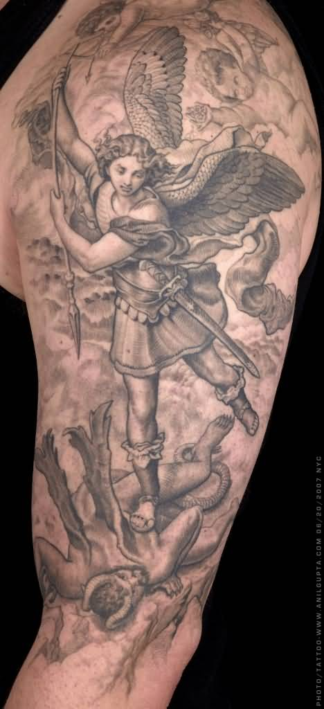 Grey Ink Archangel Michael Tattoo On Man Left Half Sleeve