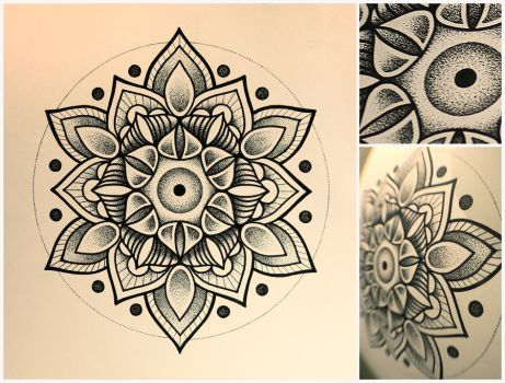 Grey Mandala Tattoo Design Sample