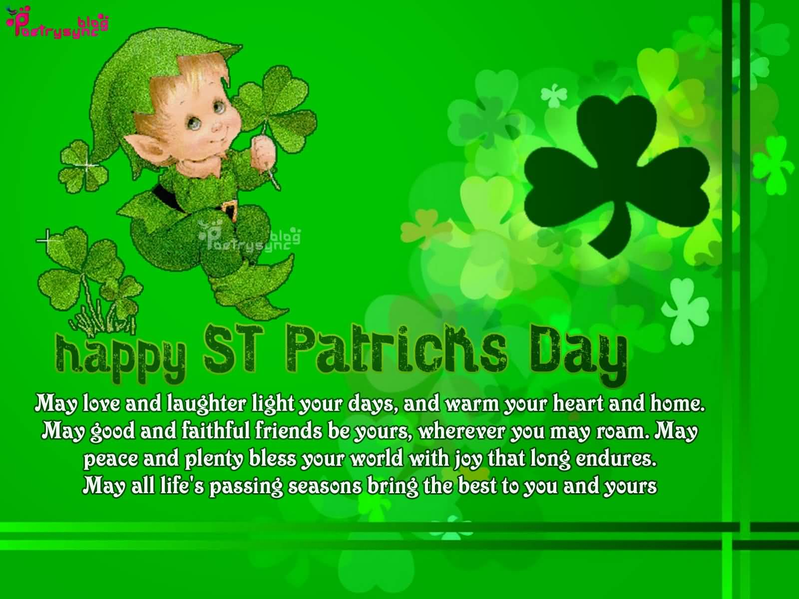 Happy Saint Patrick's Day Cute Kid With Clover Leafs