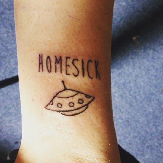 Homesick – Black Outline Alien UFO Tattoo On Sleeve