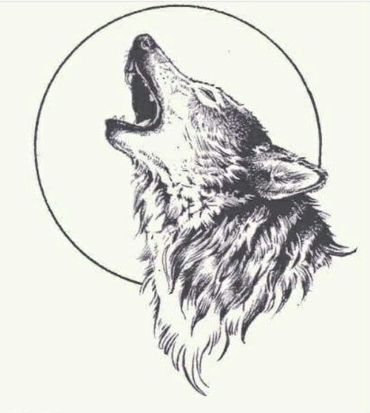 howling wolf tattoo design sample
