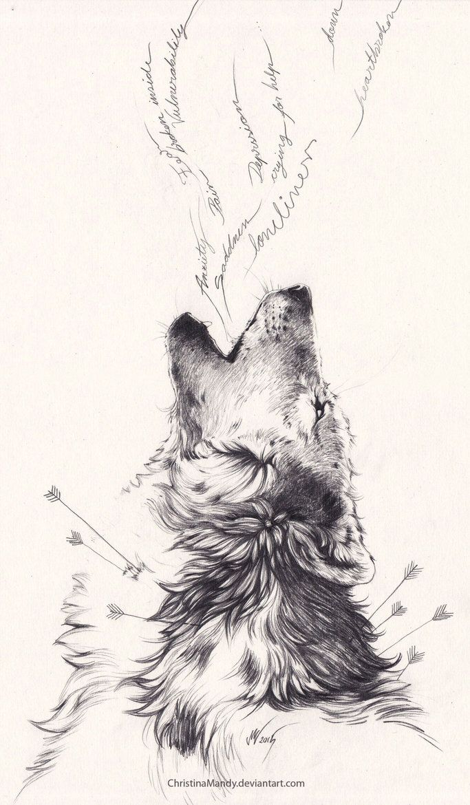 38133120a Howling Wolf With Arrows Pierced In Neck Tattoo Design