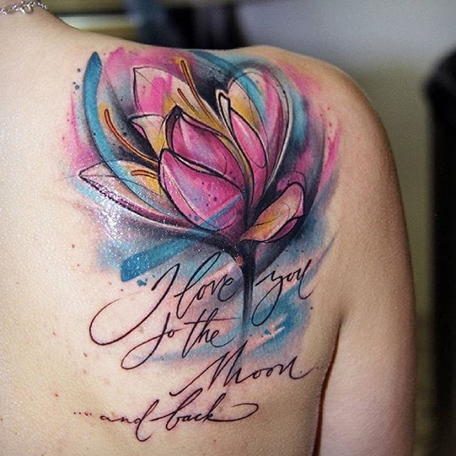 I Love You To The Moon Tulip Tattoo On Right Back Shoulder