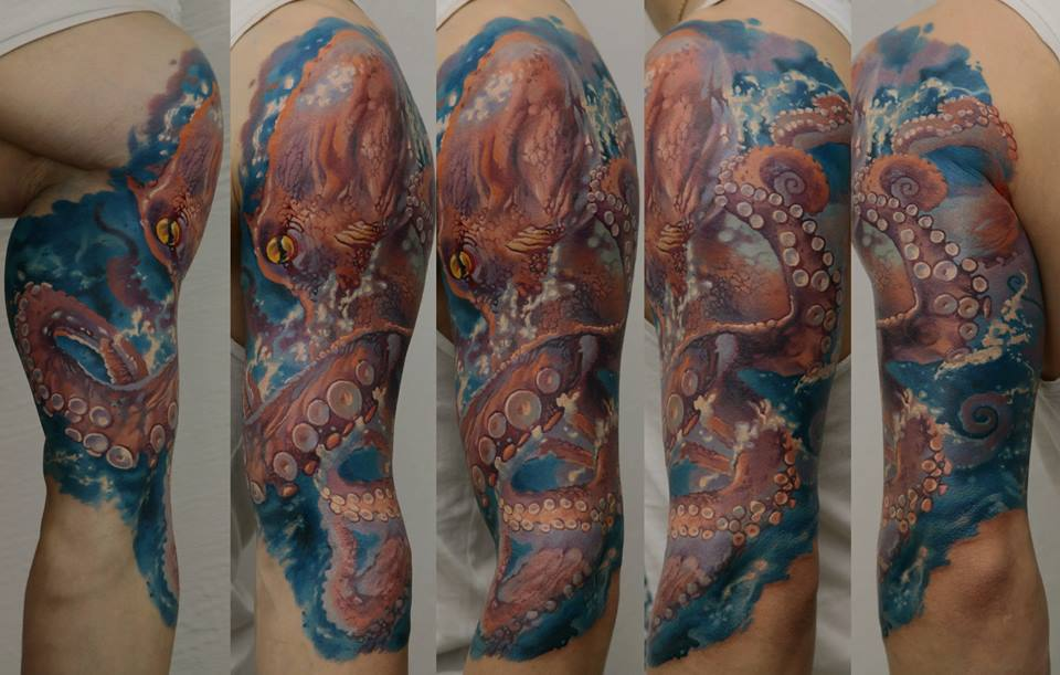 Impressive Octopus Tattoo On Left Half Sleeve