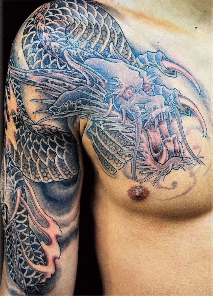 07c5c3d00 Inspiring Black And Grey Dragon Tattoo On Man Right Half Sleeve And Front  Shoulder