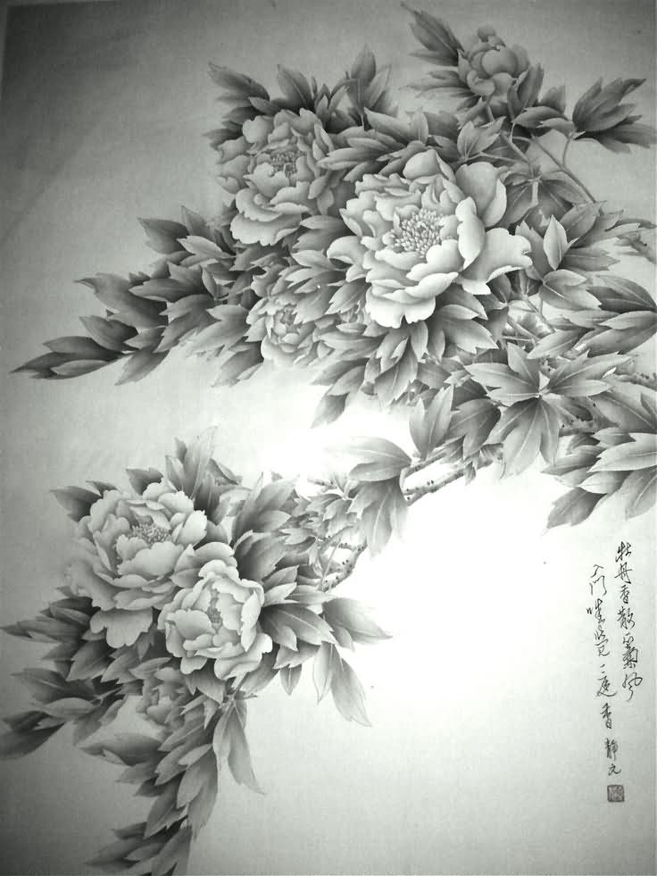 Latest Black And White Peony Flowers Tattoo Design