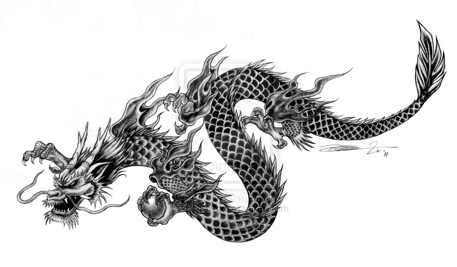 latest black ink chinese dragon tattoo design. Black Bedroom Furniture Sets. Home Design Ideas