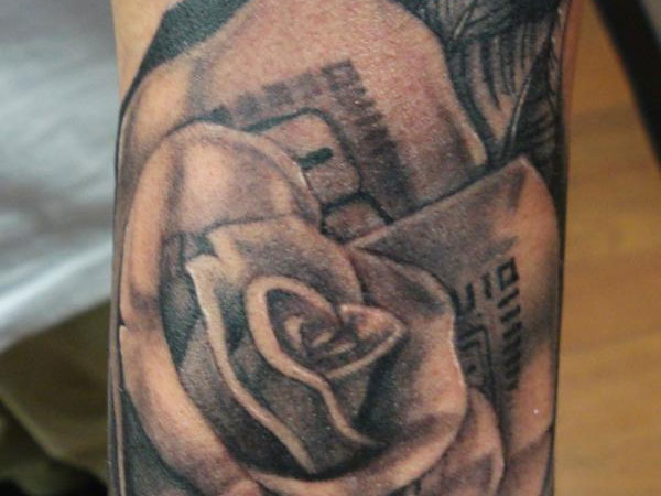 Latest Black Ink Money Rose Tattoo Design For Sleeve