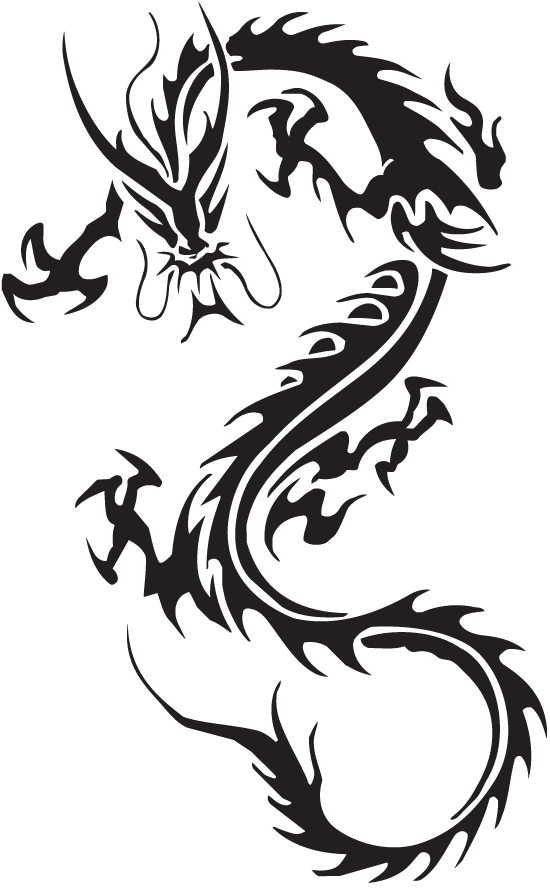55 best dragon tattoos designs collection for Black tribal tattoo ink