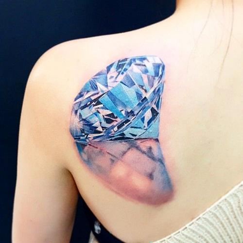 Left back shoulder diamond tattoo for girls for Back shoulder tattoos for women