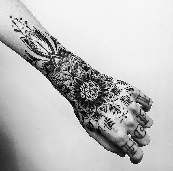 Left Hand Mandala Tattoo On Sleeve