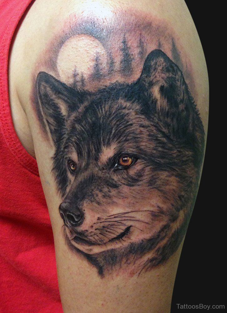 20 wolf tattoos ideas for shoulder for Wolf head tattoos