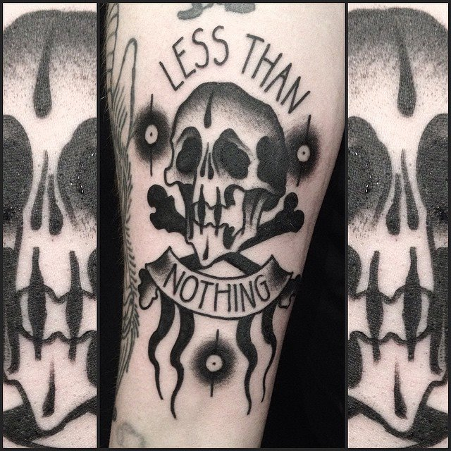 21 Catchy Black Ink Tattoos Designs By Hugo: Black Ink Danger Skull With Banner