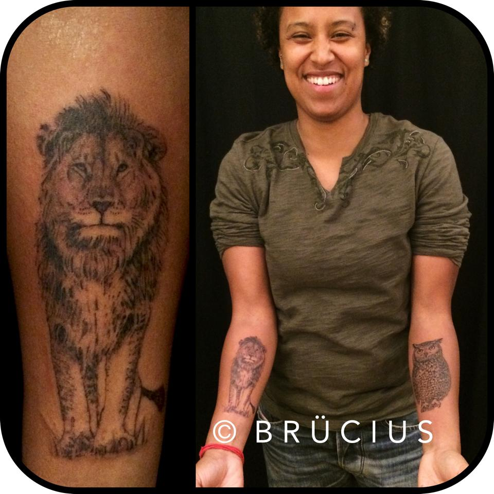 Lion And Owl Tattoo On Girl Both Forearm
