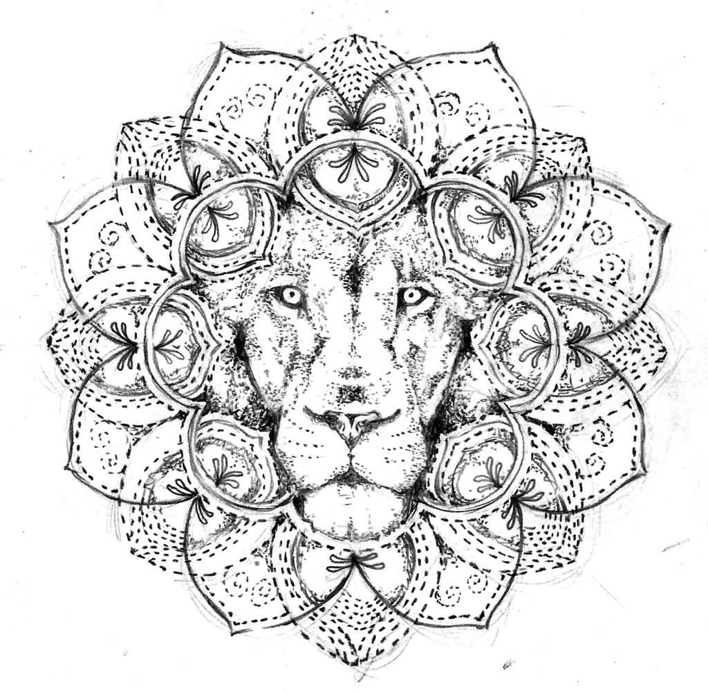 45 best mandala tattoos designs for Lion mandala coloring pages