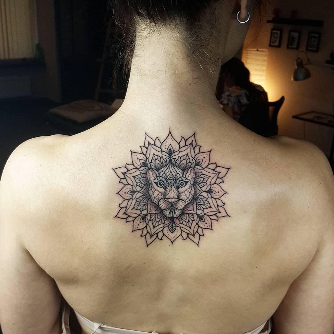 Lion Head Mandala Flower Tattoo On Girl Upper Back