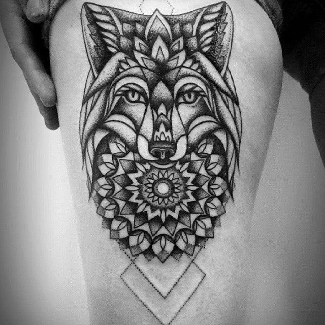 mandala flowers wolf tattoo on side thigh. Black Bedroom Furniture Sets. Home Design Ideas