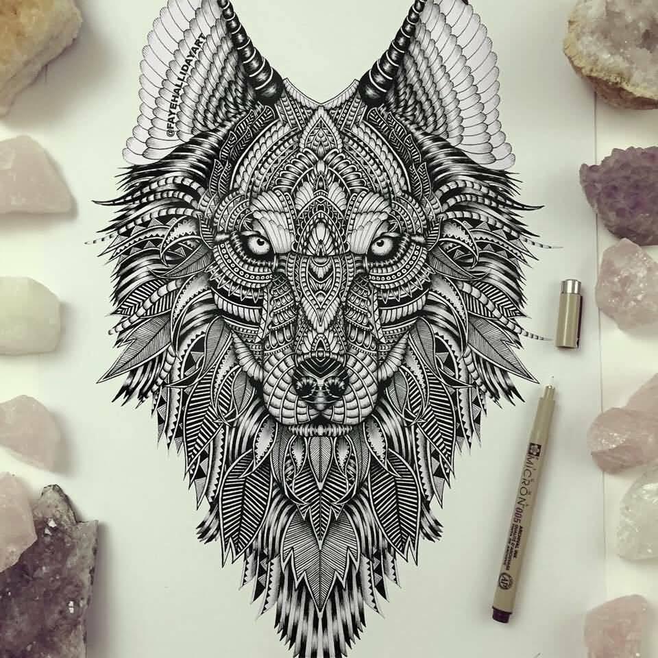 52 mandala wolf tattoos ideas. Black Bedroom Furniture Sets. Home Design Ideas
