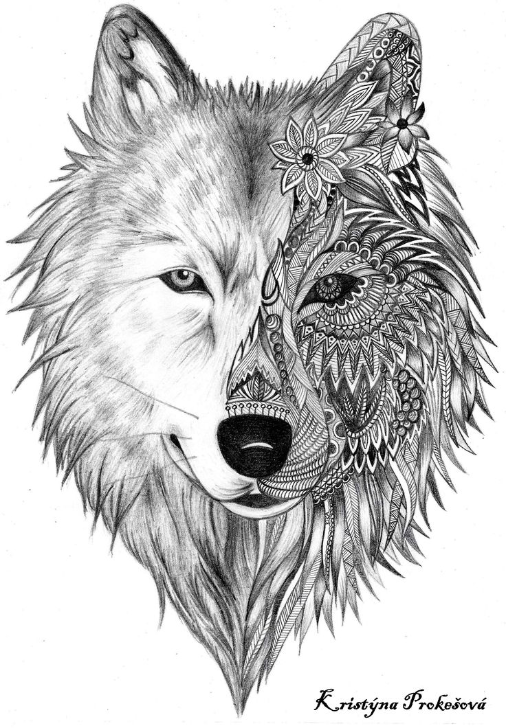 53159f662895e Mandala Wolf Head Tattoo Design