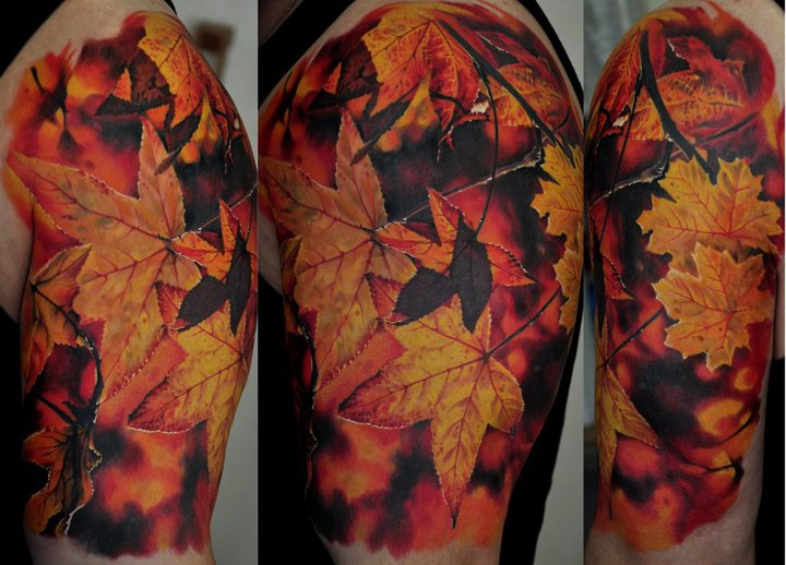 Maple Leaves Tattoo On Left Shoulder
