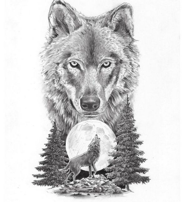 moon with howling wolf tattoo design