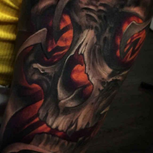 Nice 3D Skull Tattoo On Full Sleeve