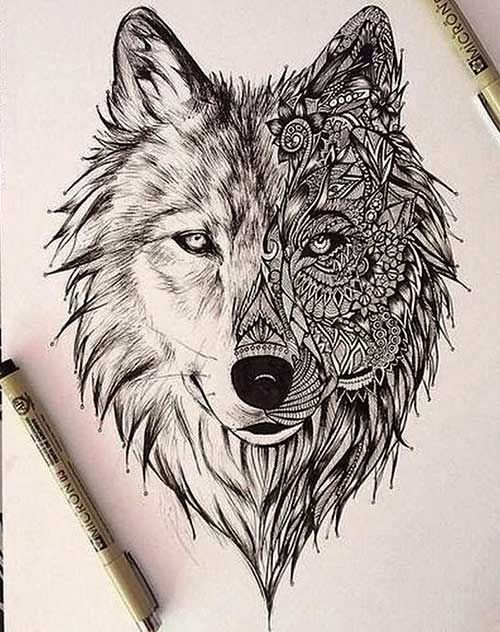 fc43037c4ec4e Nice Mandala Wolf Head Tattoo Design