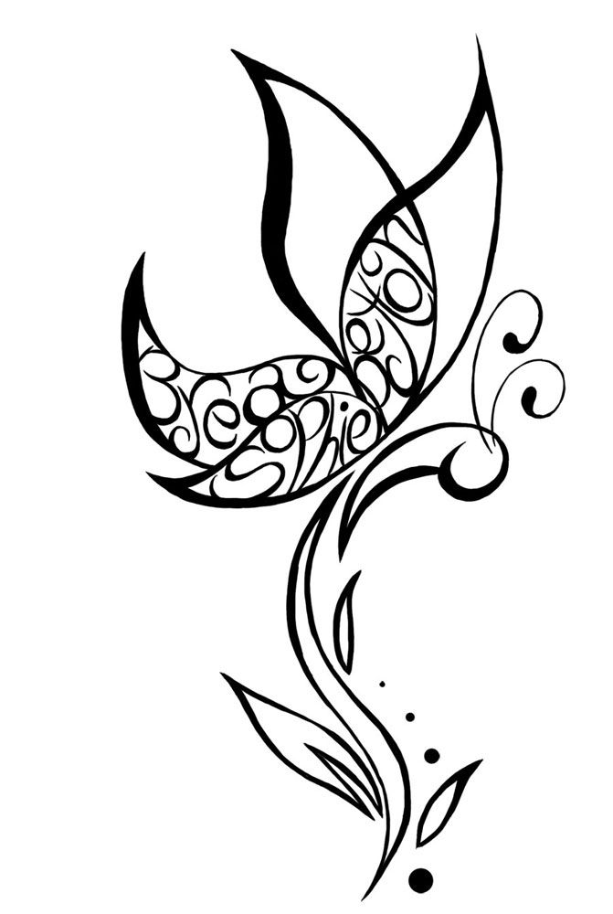 Outline Butterfly Tattoo Design Sample