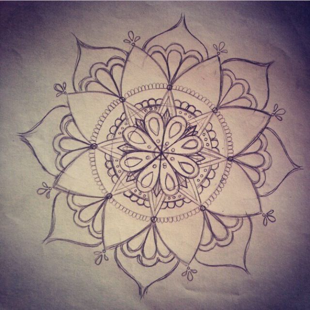 Outline Mandala Flower Tattoo Design