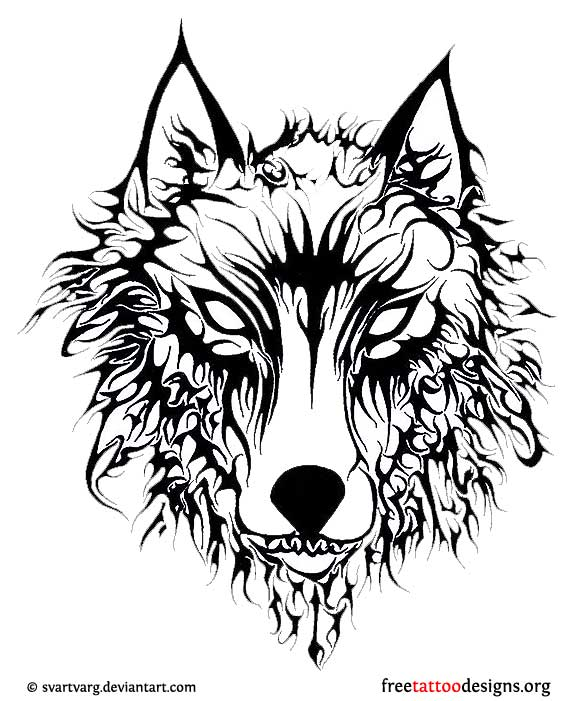 Outline Tribal Wolf Head Tattoo Design
