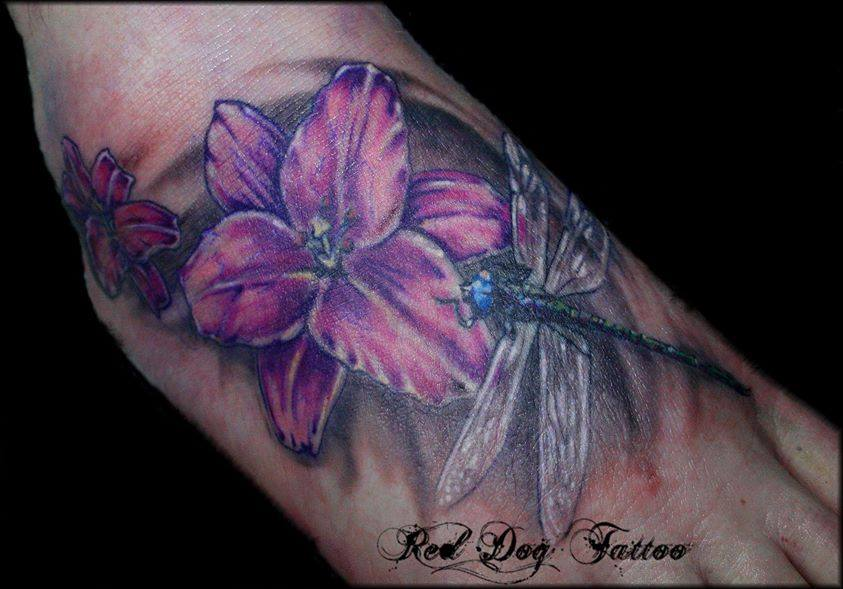 Pink ink flower with dragonfly tattoo on right foot mightylinksfo