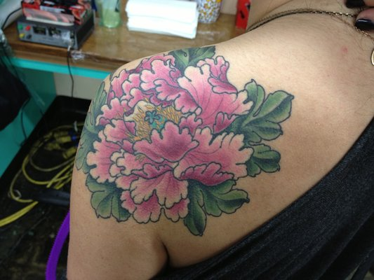 43 japanese peony tattoos collection for Pink ink tattoo