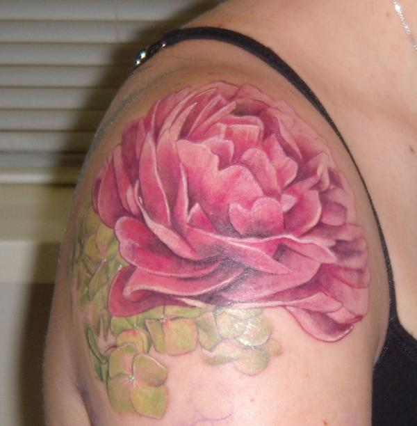 Pink Ink Peony Flower Tattoo On Right Shoulder