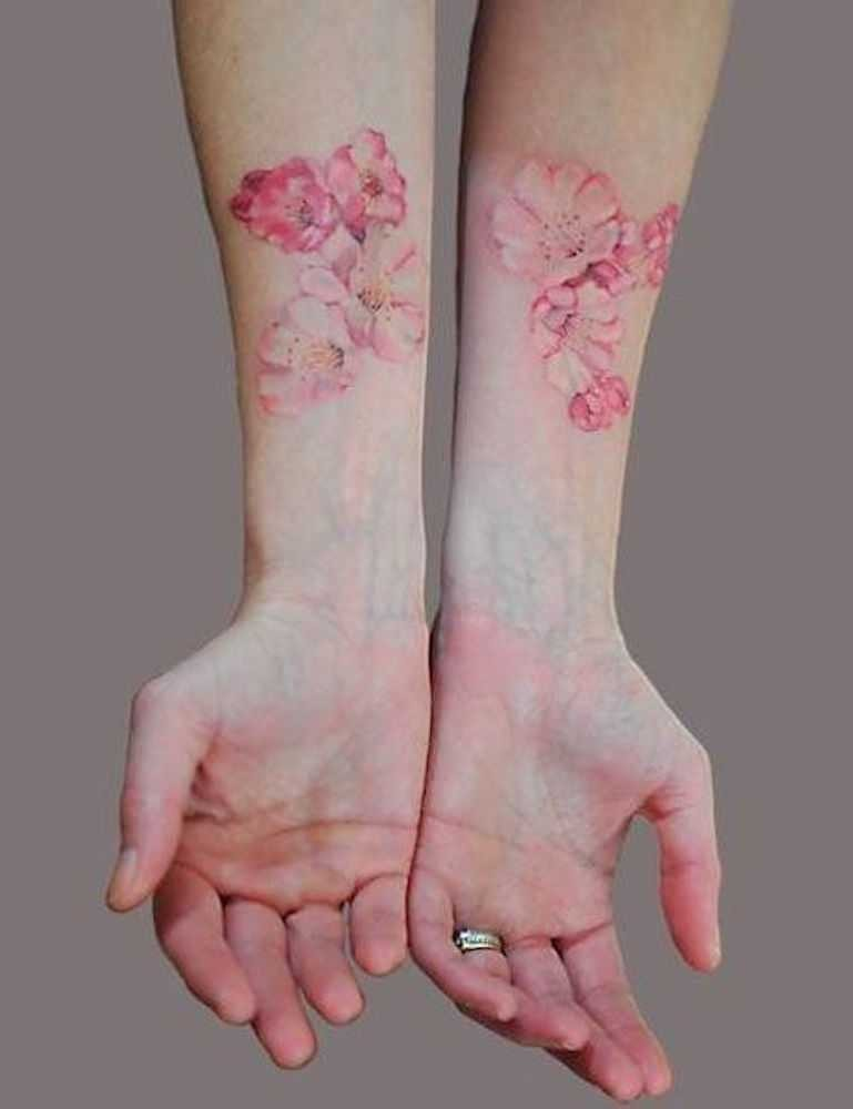 6e49731f7 Pink Ink Watercolor Peony Flowers Tattoo On Both Forearm