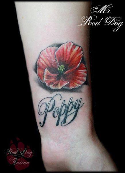 Poppy Flower Tattoo On Wrist