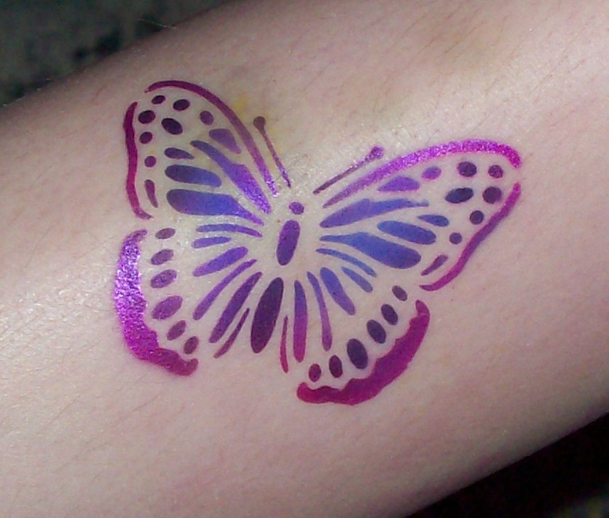 40 best airbrush tattoos design for Purple butterfly tattoo