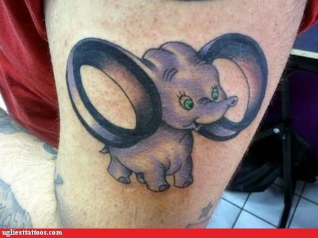 Purple Ink Dumbo Tattoo On Left Half Sleeve